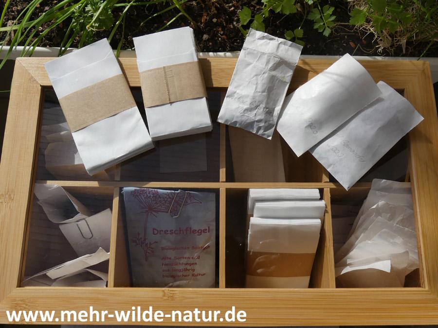 Saatguttütchen und Aufbewahrungsbox